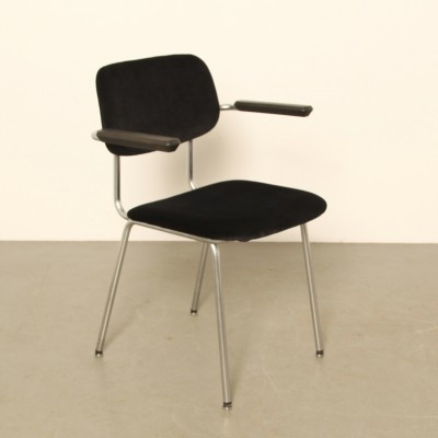 Gispen 'Model 1236' Bent-Chrome-Tube chair, 1960s, dark blue