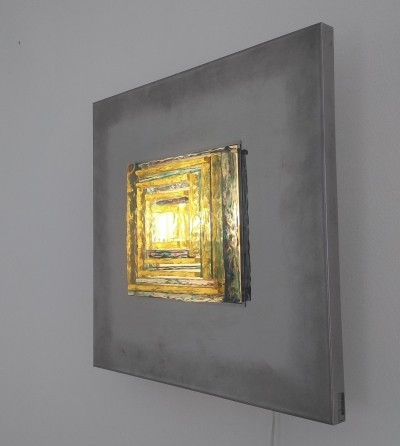 Glass & steel wall light sculpture by Angelo Brotto