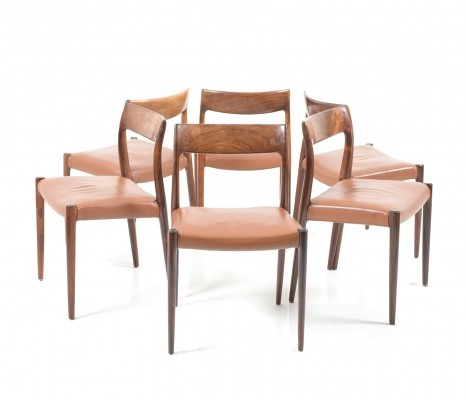 Set of 6 Niels O. Møller 'Model no.77' chair in solid Rosewood