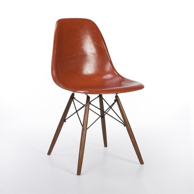 Original Herman Miller Terracotta Eames DSW Dining Side Shell Chair