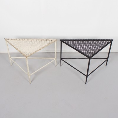 Pair of Triangular Mathieu Matégot Tables for Artimeta, 1950s