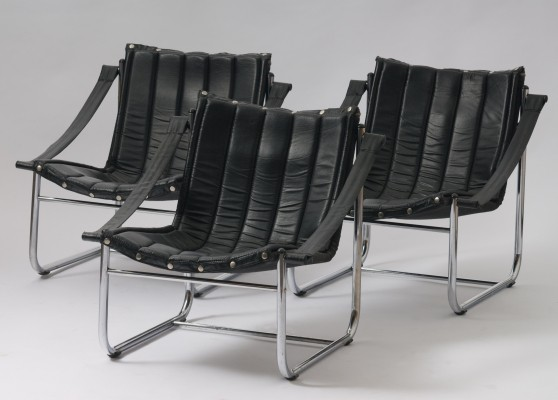 Set of 3 vintage arm chairs, 1980s