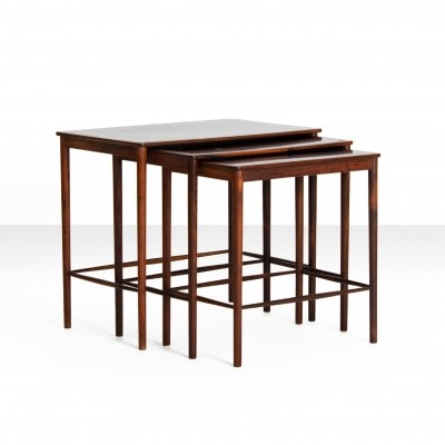 Set of Rosewood Nesting Tables by Grete Jalk for P. Jeppesens Møbelfabrik, 1960s