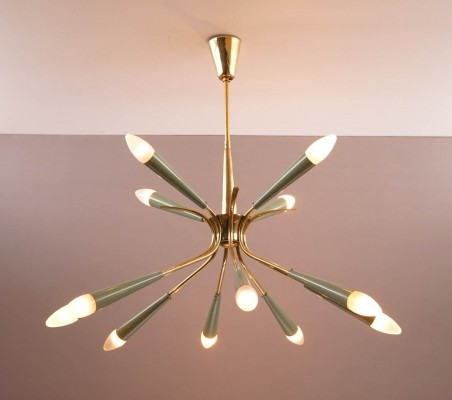 Brass Stilnovo Chandelier with Green Shades
