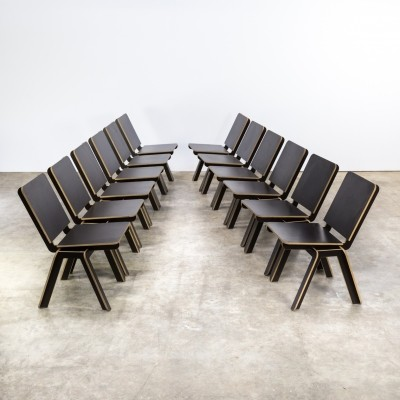 Set of 12 Luc Brinkman & Ennio Vincenzoni 'stek' chairs for het Hoofdkwartier, 1992
