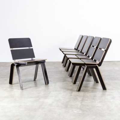 Set of 6 Luc Brinkman & Ennio Vincenzoni 'stek' chairs for het Hoofdkwartier, 1992