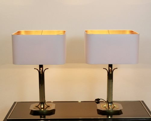 Pair of Belgian Brass Chrome Mid Century Modern Table Lamps