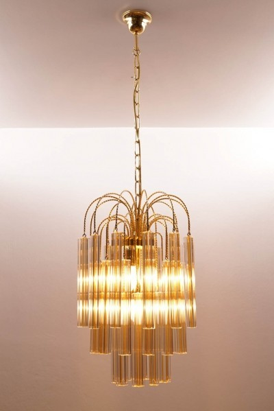 Vintage Venini Chandelier with Two-tone Murano Glass