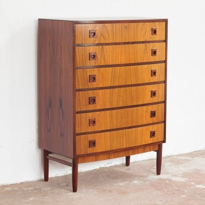 Danish chest of 6 drawers by Brouer Mobelfabrik in rosewood with bowed front