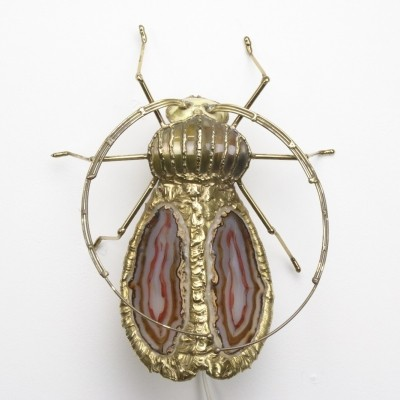 Gold plated brass insect wall light by Henri Fernandez for Jacques Duval Brasseur