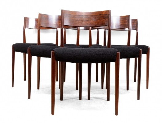 Set of Six Mid Century Dining Chairs in Rosewood