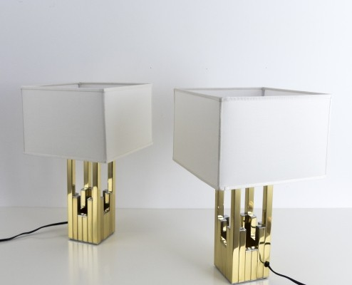 Set of 2 table lamps by Willy Rizzo for Lumica, 1970s