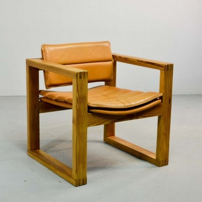 Dutch Design Cognac Leather Cubic Pinewood Armchair by Ate van Apeldoorn, 1970s