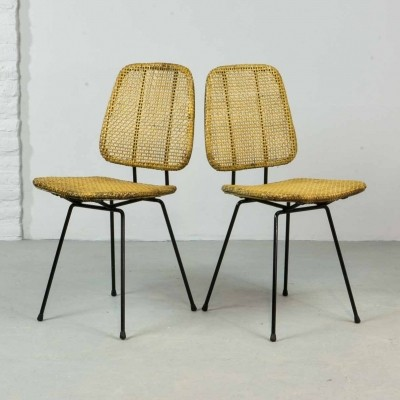 Elegant Cane Side Chairs by Dirk Van Sliedregt for Rohé, 1950s