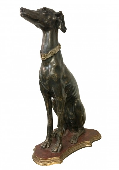 Greyhound in lacquered & silvered wood, 1930s