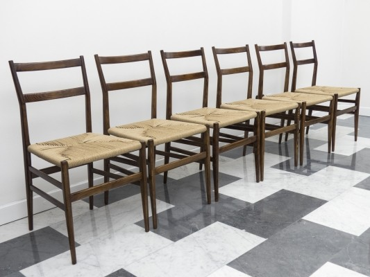 Set of 6 'metal label' mod. 646 Leggera chairs by Gio Ponti for Cassina, 1952