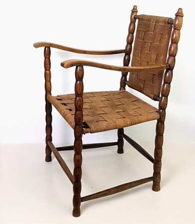 Arm chair with woven rope seat & back, 1920s