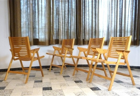 Set of 4 Rex arm chairs by Niko Kralj for Impakta Les, 1950s
