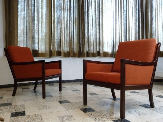 Danish Mahogany Lounge Chairs by Ole Wanscher for Poul Jeppesen, 1960s