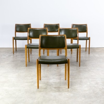 Set of 6 Model 80 dinner chairs by Niels Otto Møller for J L Møller, 1960s