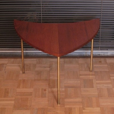 Peter Hvidt & Orla Molgaard Nielsen Solid Teak & Brass Side Table