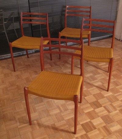 Set Of 4 Solid Teak Early production Niels Moller Model 78 Chairs