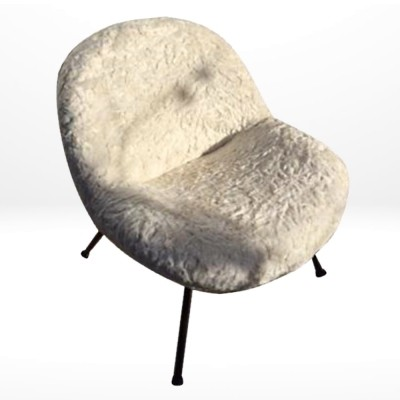 Synthetic Fur arm chair by Fritz Neth, 1955