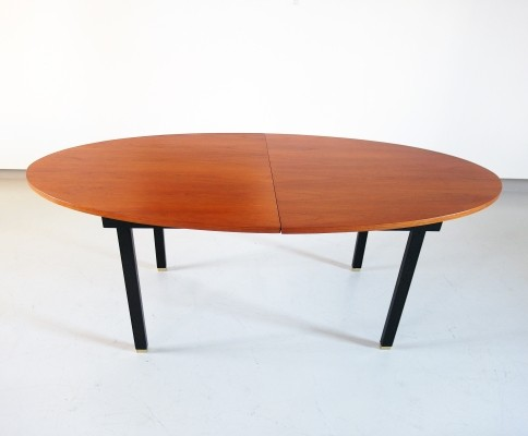 Extendable Oval Dining Table with Teak Top & Brass Feet, Belgium 1960s