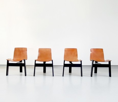 Angelo Mangiarotti Original Tre 3 Dining Chairs in Cognac Leather, Italy 1978