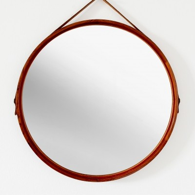 Rosewood Mirror by Uno & Östen Kristiansson for Luxus, Sweden 1960s