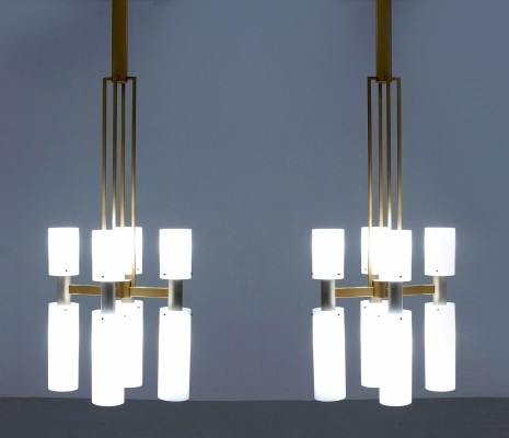Pair of Monumental Midcentury Modern Chandeliers, Netherlands circa 1945-1950