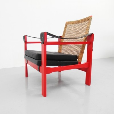 Original Red Lounge chair by P.J. Muntendam for Gebr Jonkers, 1950s