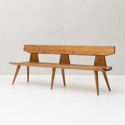 Solid pine wood bench by Jacob Kielland Brandt, 1960s
