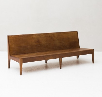 Tight shaped teak bench with beautiful patina