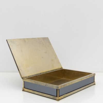 Large brass & mirrored glass box by Tommaso Barbi