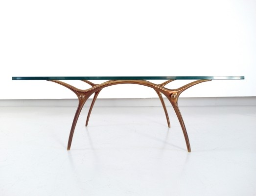 Kouloufi Coffee Table in Glass & Polished Brass, Brussels 1958