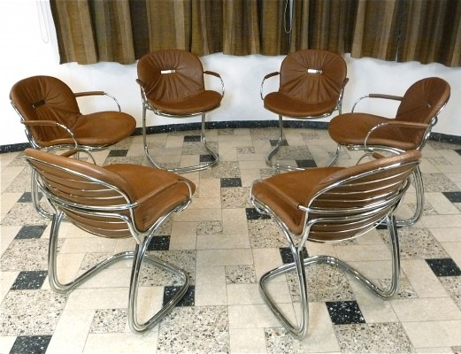 Set of 6 Leather Sabrina dinner chairs by Gastone Rinaldi for Rima Italy, 1970s