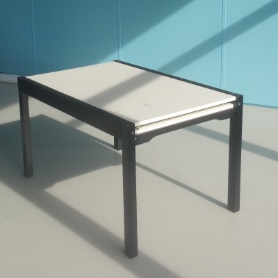 Extendable black & white dining table by Cees Braakman for Pastoe, 1970s