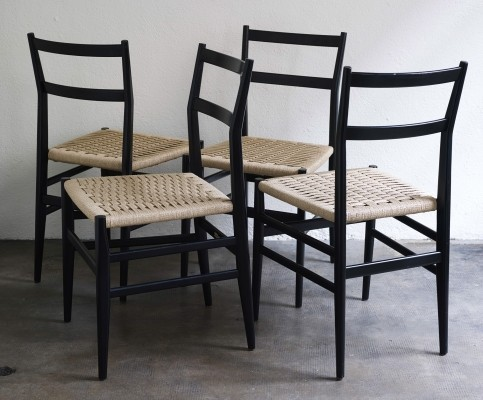 Set of 4 Leggera dining chairs by Gio Ponti