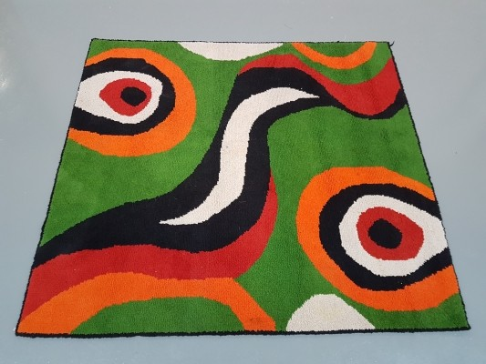 Vintage Multi colored rug in Cobra Style, 1970s