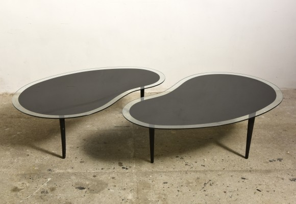 Kidney Boomerang Coffee Tables with Glass Top, 1960s