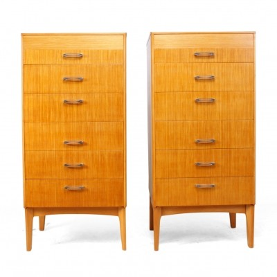 Pair of mid century Tall chest of drawers