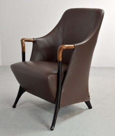 Mid-Century Progetti Leather Lounge Chair by Giorgetti, 1980s