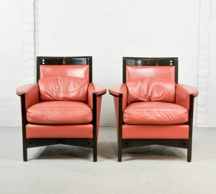 Mid-Century Pair of Giorgetti Lounge Chairs by Umberto Asnago, Italy 1980s