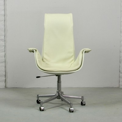 White Leather Long Back Preben Fabricius Bird Chair for Alfred Kill, 1970s
