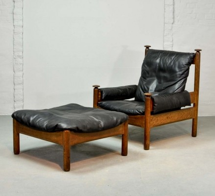 Sturdy Black Leather Scandinavian Lounge Chair with Ottoman, 1960s