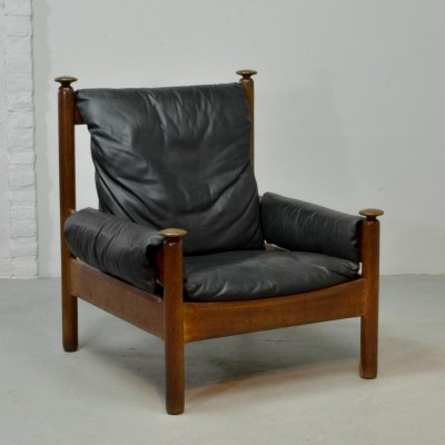 Sturdy Black Leather Scandinavian Lounge Chair, 1960s