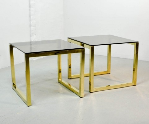 Mid-Century Hollywood Regency Cubic Side Tables with Smokey Glass Top, 1980s