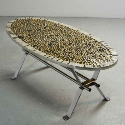 Mid-Century Gold Leaf Mosaic Chrome Coffee Table, 1970s