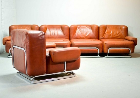 Mid-Century Leather 4-Seat Sofa & Lounge Chair, 1970s